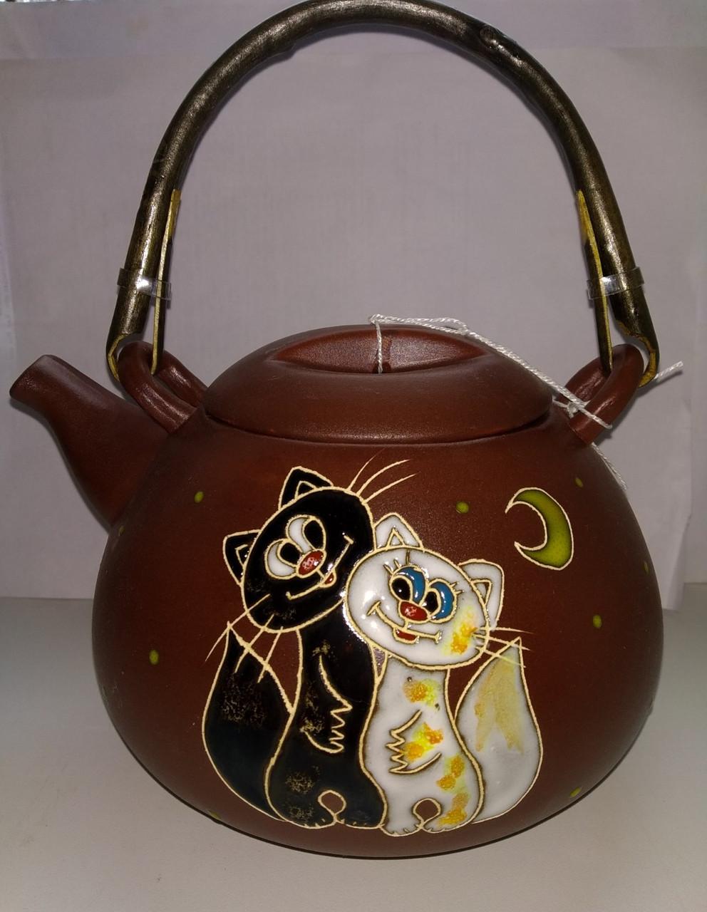 """Чайник с ситом """"Коты худые"""""""