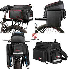 """Велосипедная раскладная сумка-штаны """"трансформер"""" на багажник / велобаул WHEEL UP 9-26 л / 3 расцветки"""
