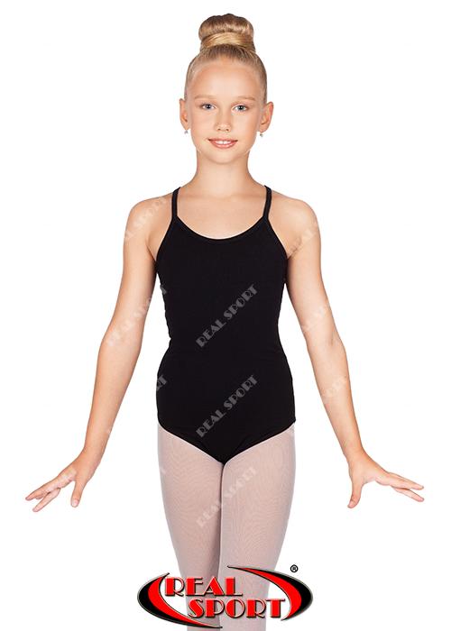 Купальник на бретельках для гимнастики, черный GM030152(хлопок, р-р L-XL, рост 146-164 см)