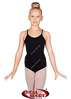 Купальник на бретельках для гимнастики, черный GM030152(хлопок, р-р L-XL, рост 146-164 см), фото 1