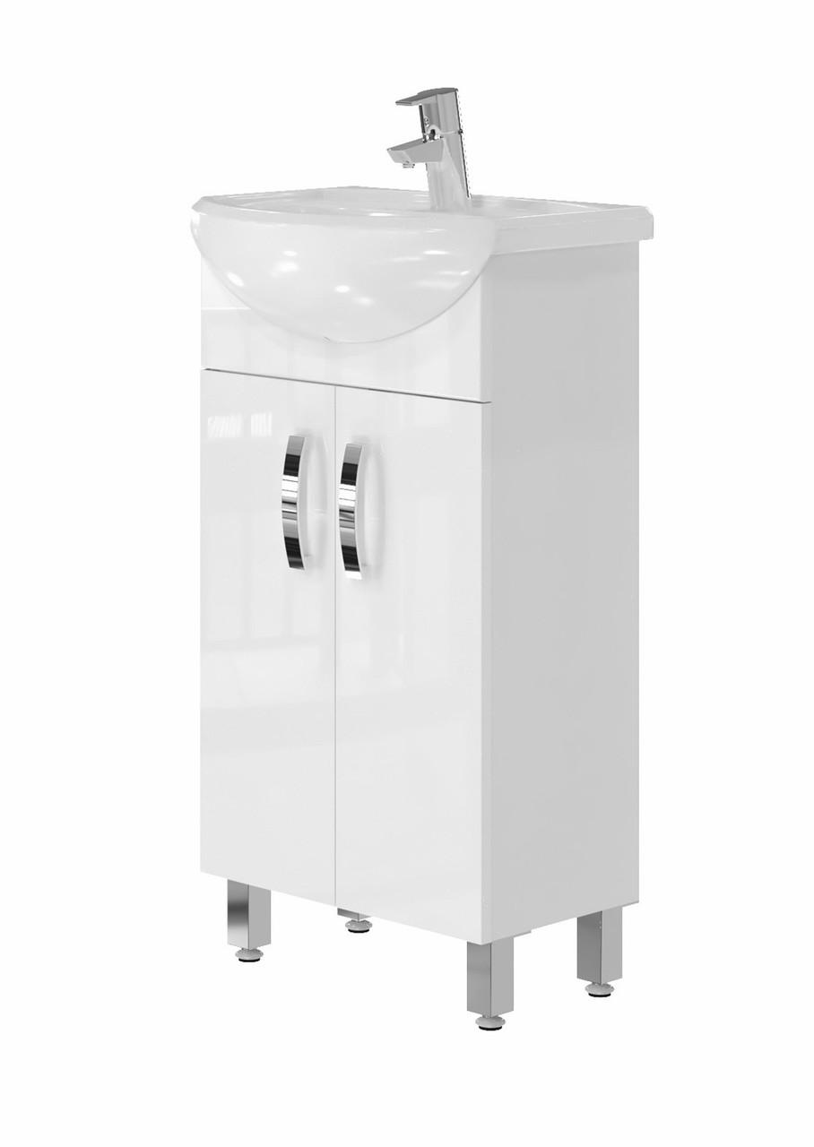 Тумба для ванной Juventa Trento Trn-45 с умывальником Лидер-45 белая