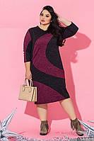 Женское нарядное платье батал из ангоры /черно-бордовый, 46-60, ST-56818/