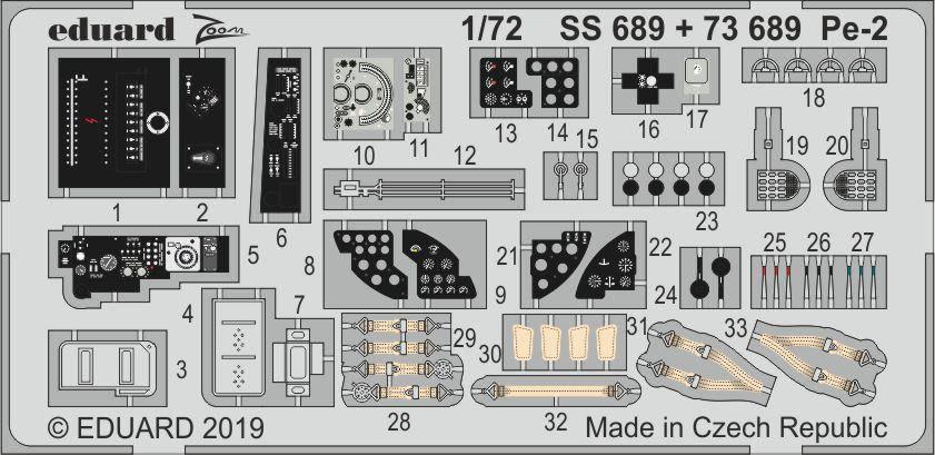 Набор деталировки для модели самолета Пе-2. 1/72 EDUARD SS689, фото 2