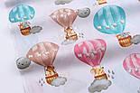"""Хлопковая ткань """"Воздушные шары розовые, бирюзовые, бежевые"""" на белом №2584, фото 4"""