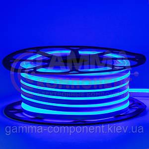 Светодиодный неон 12В голубой лед smd 2835-120 лед/м 6Вт/м, 8*16мм ПВХ