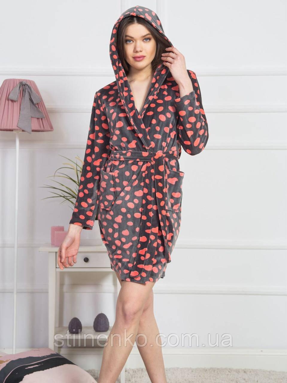 Женский халат  с капюшоном на запах в горох