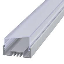 КОМПЛЕКТ!!! Профиль аллюминиевый LED ЛCO + Рассеиватель матовый трапеция. Палка по 2 метра