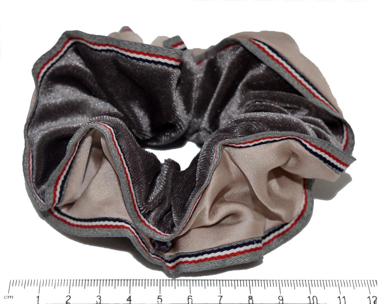 Велюровая обьемная Резинка для волос с лентой - черная