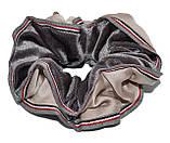 Велюровая обьемная Резинка для волос с лентой - черная, фото 2