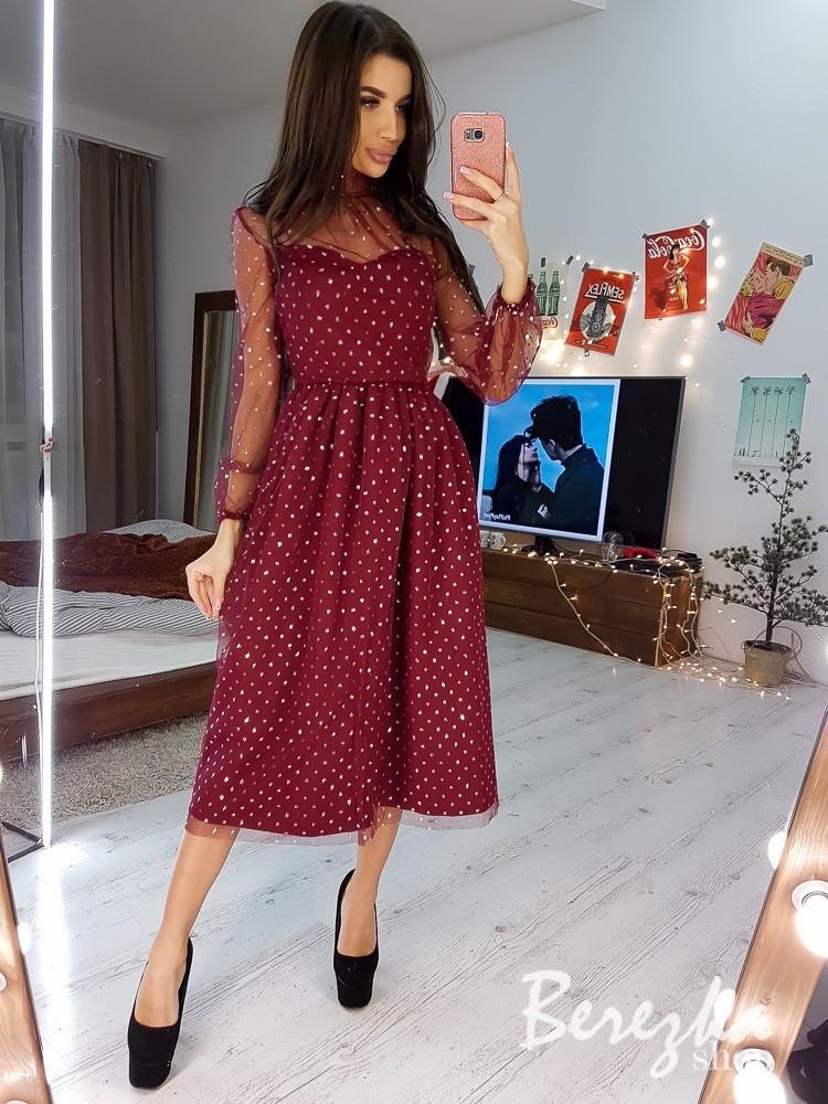 Сукня з сітки з блискітками з пишною спідницею і високим горлом vN6273