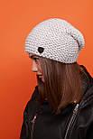 Женская шапка чулок крупной вязки с шерстью и утепленная флисом vN6293, фото 2