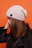 Женская шапка чулок крупной вязки с шерстью и утепленная флисом vN6293, фото 3