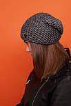 Женская шапка чулок крупной вязки с шерстью и утепленная флисом vN6293, фото 4