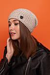 Женская шапка чулок крупной вязки с шерстью и утепленная флисом vN6293, фото 6