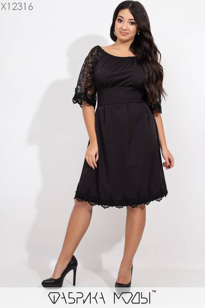 Плаття з відкритими плечима у великих розмірах з рукавами з сітки і паєтки vN6301
