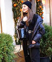 Женская кожаная сумка бочонок черный глянец, фото 1