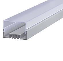 КОМПЛЕКТ!!! Профиль аллюминиевый LED ЛCO + Рассеиватель  прямоугольный РСП. Палка по 2 метра