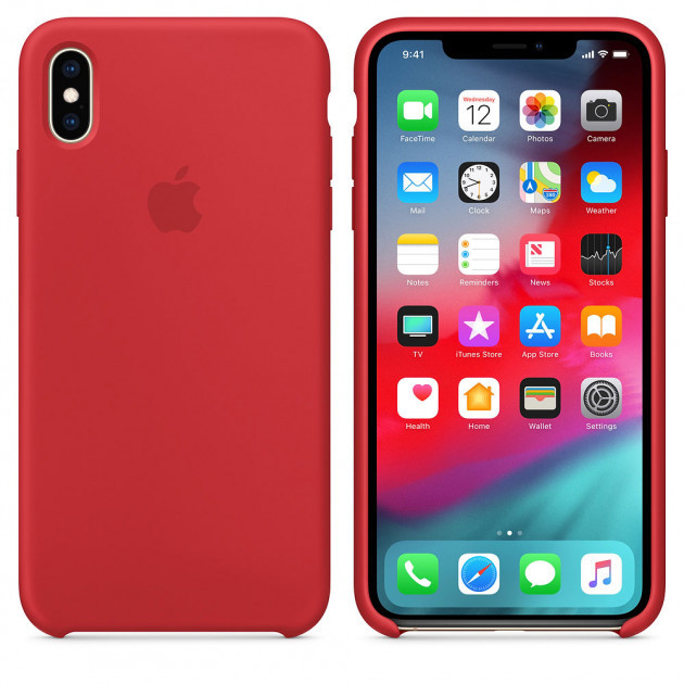 "Apple silicon case iPhone XS  "" Red """