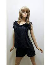 Бархатная пижама  футболка и шортики украшена французским кружевом , размеры от 42 до 50, фото 3