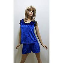 Бархатная пижама  футболка и шортики украшена французским кружевом , размеры от 42 до 50, фото 2