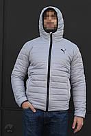 Куртка чоловіча зимова тепла якісна сіра Puma, фото 1