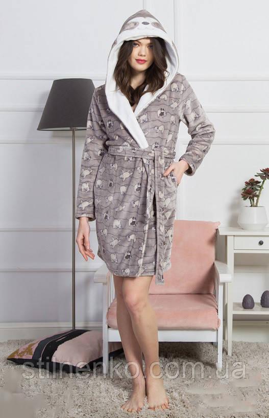 Женский халат  на запах с карманами