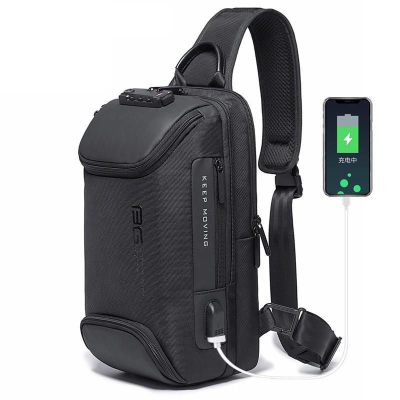 Однолямочный рюкзак Bange BG7082, USB порт, TSA замок, два отделения, пять карманов, влагозащищённый, 7л