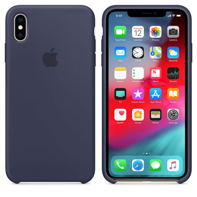 "Apple silicon case iPhone XS  "" Midnight blue """