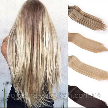 Волосы на заколках цвет блонд мелирование русый черный, фото 2