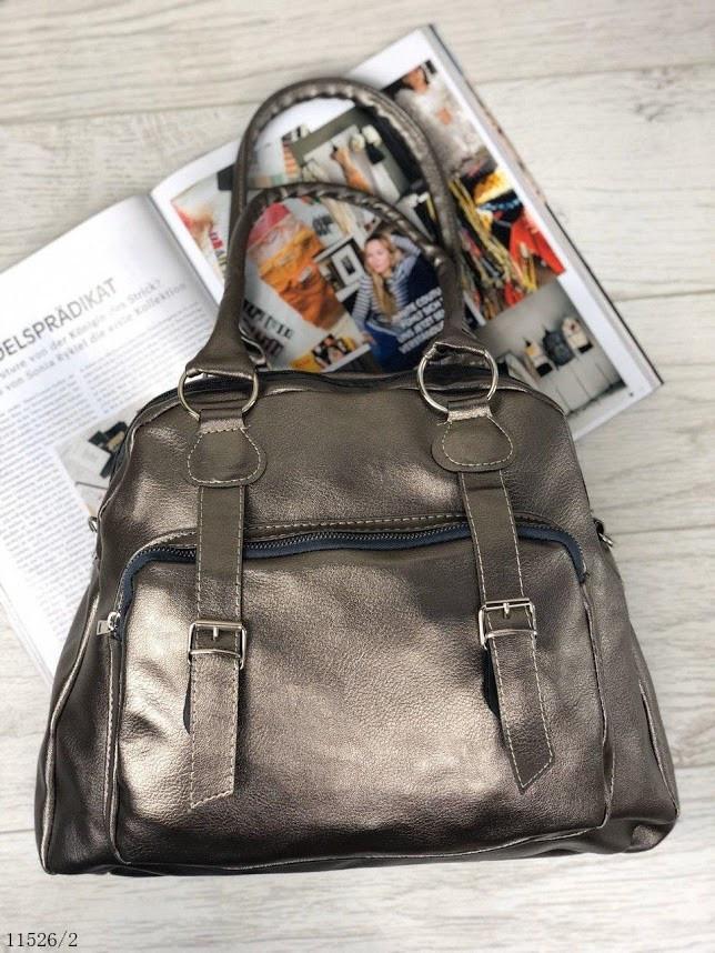 Вместительная серебристая женская сумка на плечо городская молодежная шоппер серебро кожзам