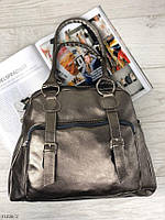 Вместительная серебристая женская сумка на плечо городская молодежная шоппер серебро кожзам, фото 1