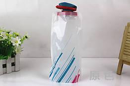 """Складна туристична багаторазова фляга для води (""""анти-пляшка""""), 700 мл БІЛИЙ З СМУГАМИ"""
