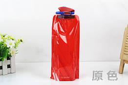 """Складна туристична багаторазова фляга для води (""""анти-пляшка""""), 700 мл ЧЕРВОНИЙ"""