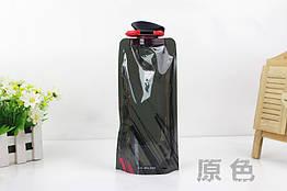 """Складна туристична багаторазова фляга для води (""""анти-пляшка""""), 700 мл ЧОРНИЙ"""
