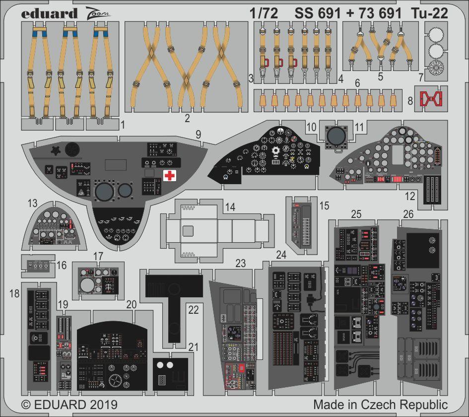 Ту-22 , набор фототравления для модели TRUMPETER. 1/72 EDUARD SS691