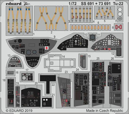 Ту-22 , набор фототравления для модели TRUMPETER. 1/72 EDUARD SS691, фото 2