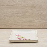 Тарелка Квадрат для суши белая с деколью, 19 см