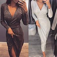 Платье женское на запах, нарядное, вечернее, длина миди,трикотаж люрекс, стильное, модное, повседневное, до 48, фото 1