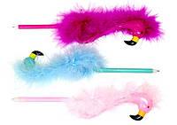 Ручка шариковая Фламинго с перьями ООПТ