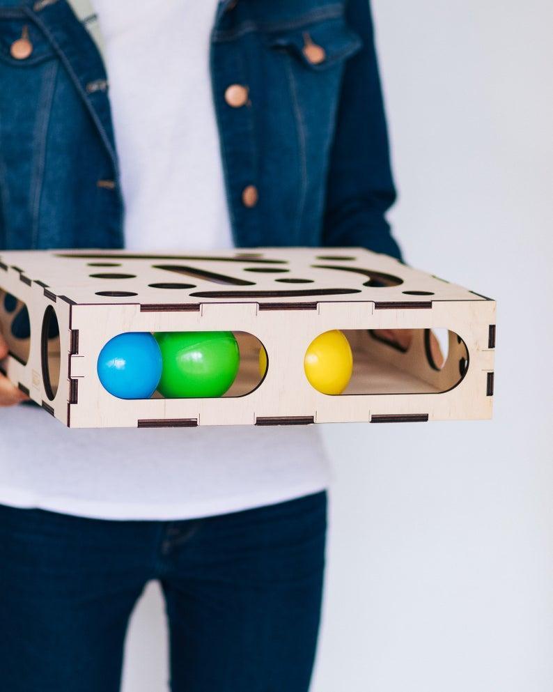 Игрушка для кота,деревянная коробка для кота с мячиком внутри 4