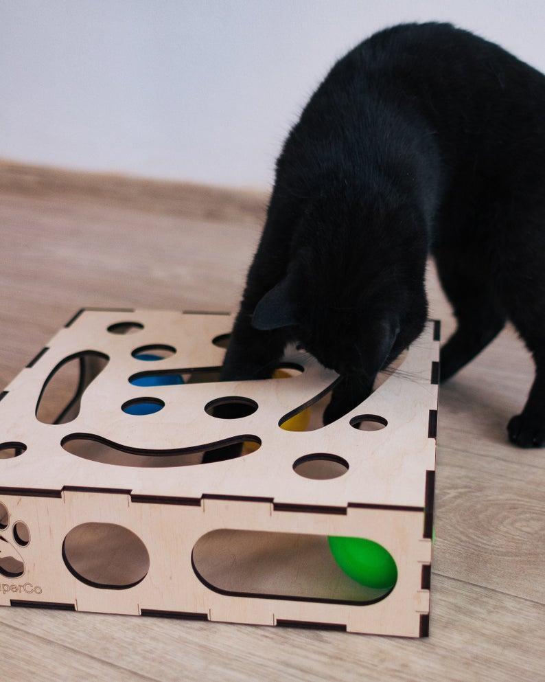 Игрушка для кота,деревянная коробка для кота с мячиком внутри 5