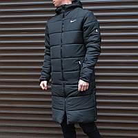 Зимняя куртка Nike мужская, длинная, цвет-черный, утеплитель-силикон, в стиле Найк, код MK-0902.