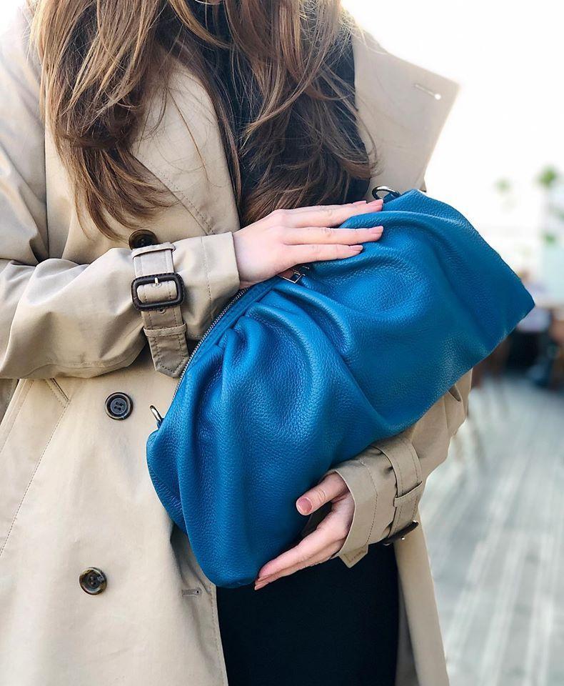 Женская кожаная сумка SHELL синяя
