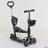 Самокат детский трёхколёсный с родительской ручкой Best Scooter 35110 светятся колёса (чёрный абстракция)