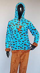 Женская махровая пижама на молнии и капюшоном