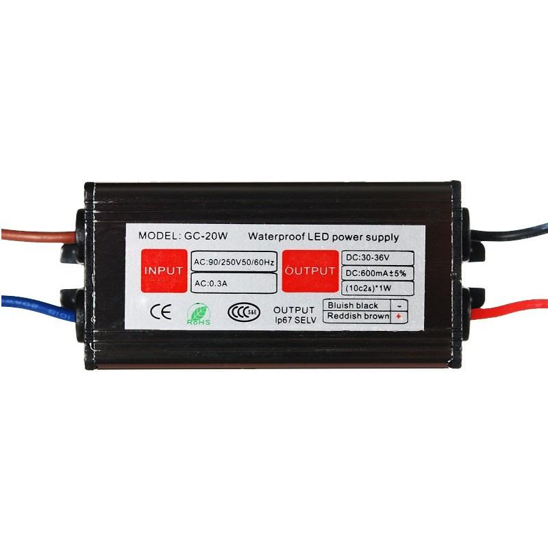 Драйвер светодиода LED 1x20W 30-36V IP67 для прожектора