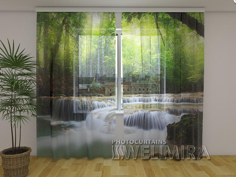 ФотоТюль Водопад в весеннем лесу 250 см х 260 см