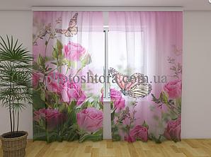 ФотоТюль Метелики і рожеві троянди 250 см х 260 см