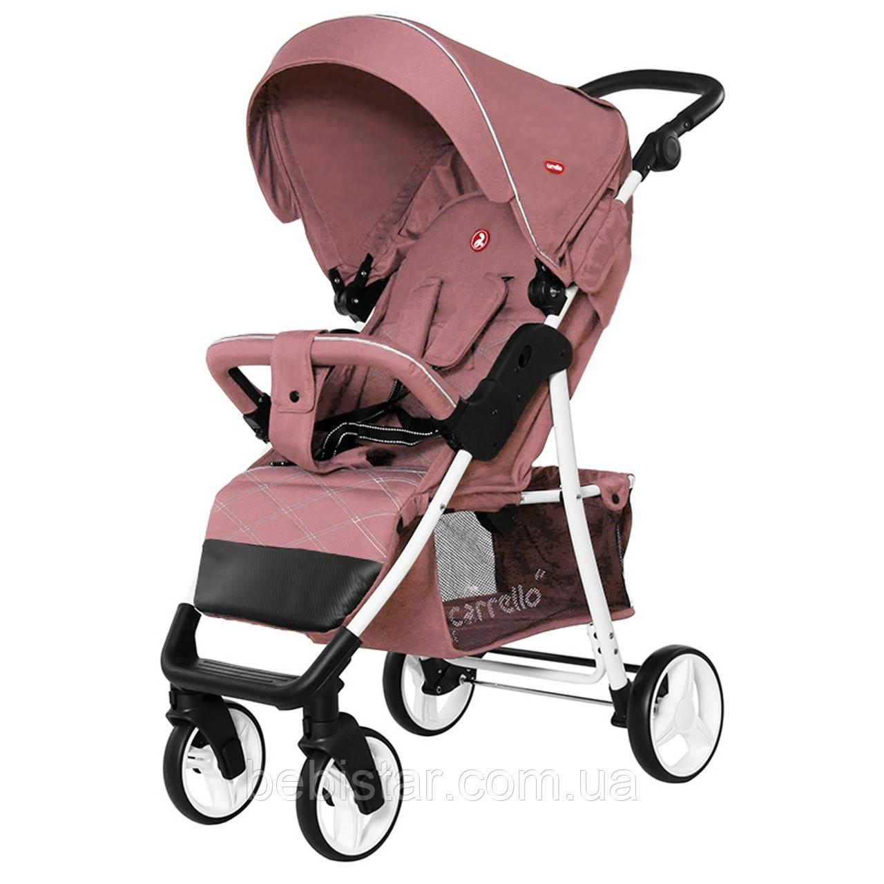 Детская прогулочная коляска с дождевиком розовая черно-белая рама CARRELLO Quattro CRL-8502/2 Wild Rose