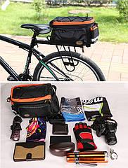 """Велосипедная раскладная сумка-штаны """"трансформер"""" на багажник / велобаул B-SOUL / KUASU 9-26 л"""